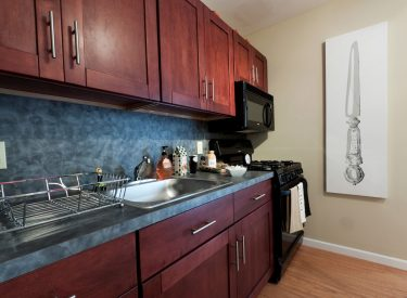 Amenities include dining table, chairs, fridge, stove, microwave