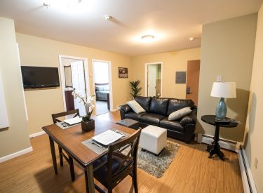 Kitchen & living room in Campus Square apartments